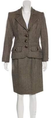 Saint Laurent Plaid Wool Skirt Suit
