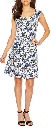 Ronni Nicole Sleeveless Floral Puff Print Fit & Flare Dress