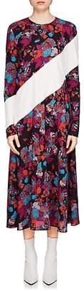 Givenchy Women's Fire Flower-Print Silk Midi-Dress - Black