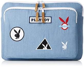 Playboy (プレイボーイ) - [プレイボーイ]クラッチバッグ パソコンケース iPadケース カバン かばん 鞄 PLAYBOY ロゴ ワッペン レディース メンズ ユニセックス デニムブルー