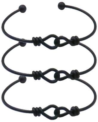 Charm.L Grace Set of 3 PCS Love Knot Heart Bangle Bracelet Bridesmaid bracelets Adjustable Silver Golden Black Cuff