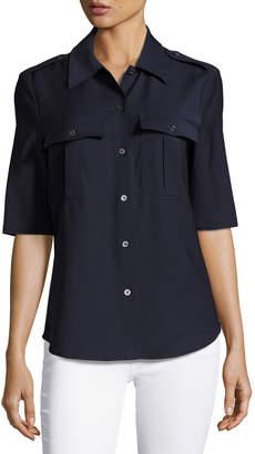 Pink Tartan Military Wool-Blend Shirt, Navy $229 thestylecure.com