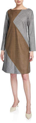 Piazza Sempione Serge Bi-Color Herringbone Shift Dress