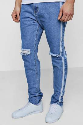 boohoo Slim Fit Jeans With Bleached Side Stripe