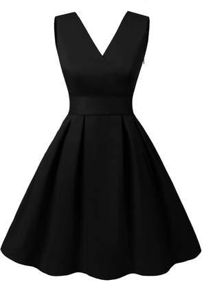 Dresstells reg; Vintage 1950s Solid Color V Neck with Bow Tie Retro Swing Dress M