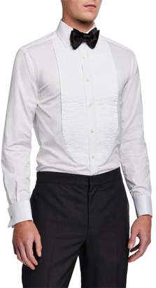 Brunello Cucinelli Men's Pleated-Bib Tuxedo Shirt