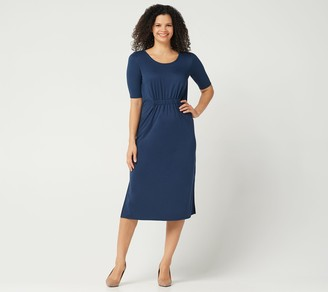 Halston H By H by Petite Ruched Waist Elbow-Sleeve Midi Dress