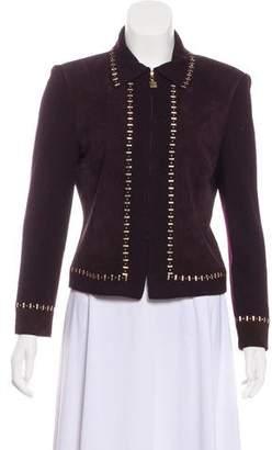 St. John Embellished Suede-Paneled Jacket