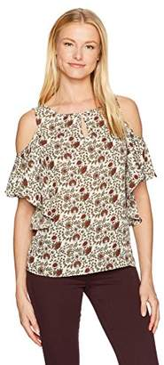 Max Studio Women's Printed Cold Shoulder Short Sleeve Top with Key-Hole