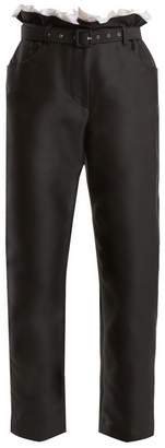Isa Arfen Gathered-waist cropped cotton-blend trousers