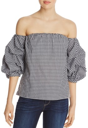 AQUA Gingham Off-the-Shoulder Ruffle Sleeve Top - 100% Exclusive $58 thestylecure.com