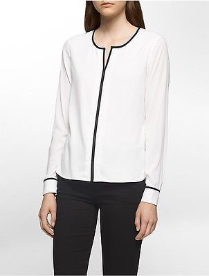 Calvin Klein Calvin Klein Womens Pleated Piped Long Sleeve Top Shirt
