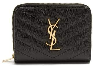 Saint Laurent - Monogram Quilted Pebbled Leather Wallet - Womens - Black