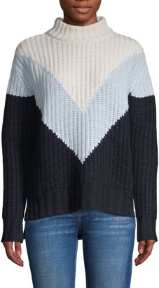 Autumn Cashmere Tri-Color Shaker Mockneck Sweater