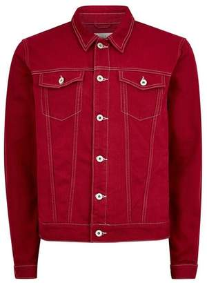 Topman Mens Red Contrast Stitch Denim Jacket