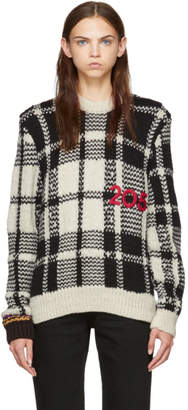 Calvin Klein Black and White 205 Check Knit Sweater