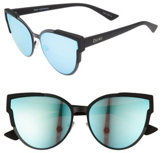 Women's Quay Australia Game On 57Mm Cat Eye Sunglasses - Black/ Blue $60 thestylecure.com