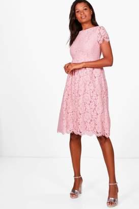 boohoo Boutique Eyelash Lace Midi Skater Dress
