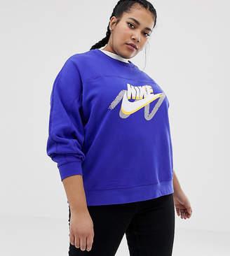 sports shoes 6bc12 5eecf Nike Plus Blue Archive Graphic Logo Sweatshirt