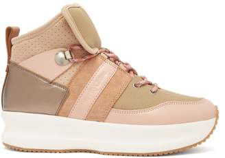 See by Chloe Nicole Leather And Mesh High Top Trainers - Womens - Pink Multi