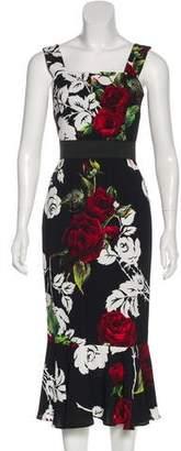 Dolce & Gabbana Ruffled Rose Print Dress