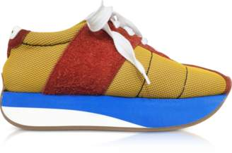 Marni Ochre and Rust Tech Fabric Big Foot Sneakers