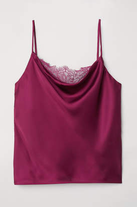 H&M Satin Camisole with Lace - Pink