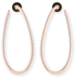 Memoire 18KRG Large Diamond Pave Twist Hoop Earrings