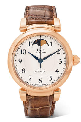 IWC SCHAFFHAUSEN - Da Vinci Automatic Moon Phase 36mm 18-karat Red Gold And Alligator Watch