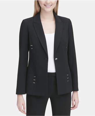 Calvin Klein Notched-Collar Stud-Detail Blazer