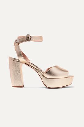 Miu Miu Metallic Leather Platform Sandals - Gold