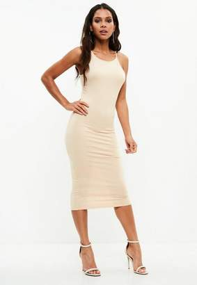 Missguided Nude Racer Neck Bodycon Mini Dress