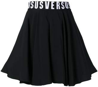 flared logo waist skirt