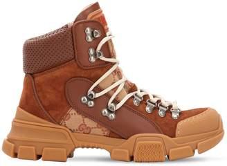 Gucci 40mm Flashtrek Gg Canvas & Suede Boots