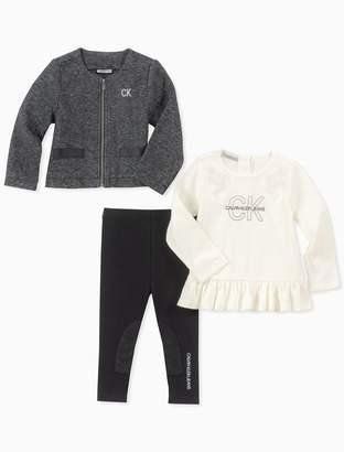 Calvin Klein girls 3-piece knit jacket set