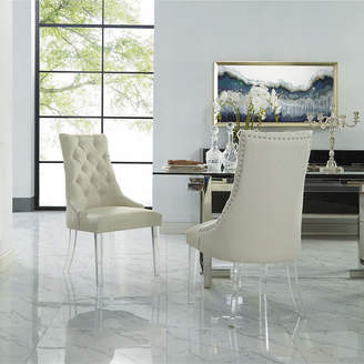Asstd National Brand Inspired Home Set of 2 Winona Linen Acrylic Leg Armless Dining Chairs