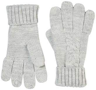 Women Winter Acrylic Cable Knit Grey Gloves Touch Screen Full Finger