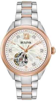 Bulova Diamond-Accented 2-Tone Stainless Steel Automatic Skeleton Case Back Bracelet Watch $495 thestylecure.com