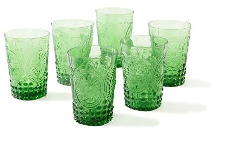 Pressed Glass Drinking Glasses, Emerald