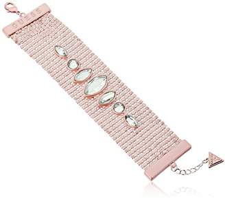 GUESS Womens Matte Wide Mesh Bracelet with Stones Matte /Crystal 7.5 in + 1 in Adjustable