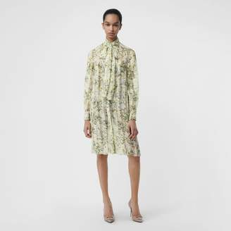Burberry Floral Print Organza Tie-neck Shirt Dress , Size: 12, Green