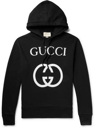 Gucci Logo-Print Loopback Cotton-Jersey Hoodie