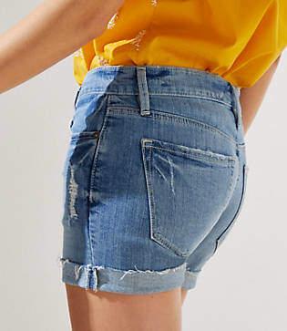 LOFT Denim Roll Shorts in Mid Staple Indigo Wash