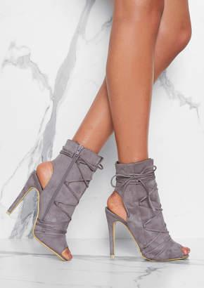 3d6453f1544 Missy Empire Missyempire Kasia Grey Lace Up Heels