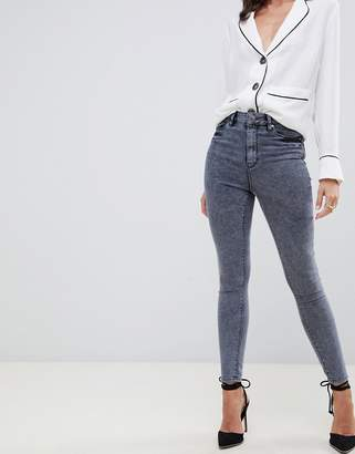 Asos (エイソス) - ASOS DESIGN Ridley high waist skinny jeans in petrol gray wash
