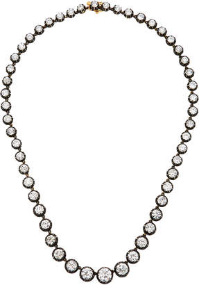 Fred Leighton Old European Cut Diamond Silver-Topped Gold Collet Riviere Necklace