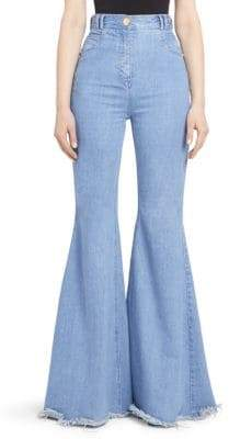 Balmain High-Rise Fray Hem Flared Jeans