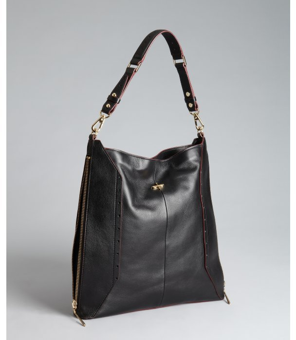 Pour La Victoire black leather side zip 'Provence' hobo