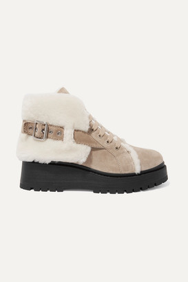 cc74f085a38 Miu Miu Shearling-lined Suede Ankle Boots - Sand