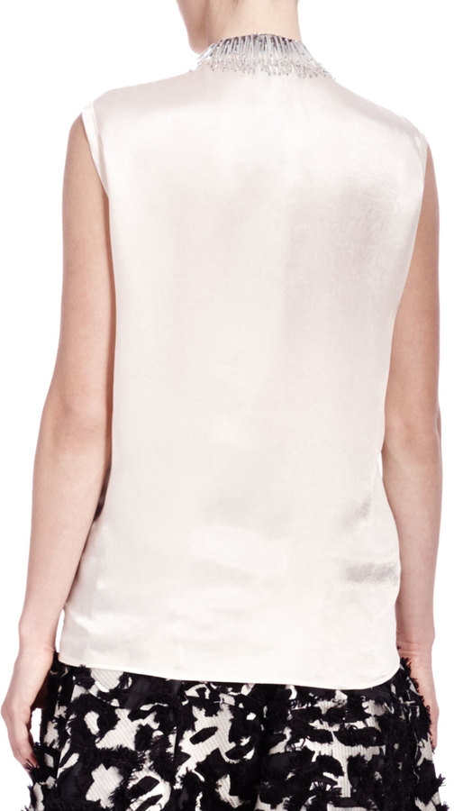 Lanvin Satin Bead-Fringe Sleeveless Top